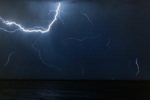 Bolt of lightening in a night sky