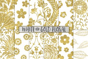 White and Gold Floral Backgrounds