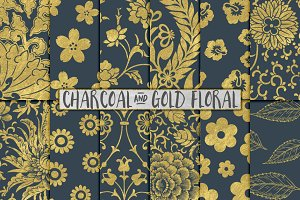 Gray and Gold Floral Backgrounds