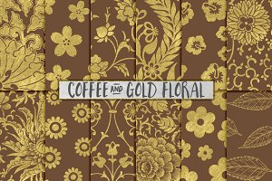 Brown and Gold Flower Backgrounds
