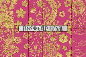 Pink and Gold Flower Patterns