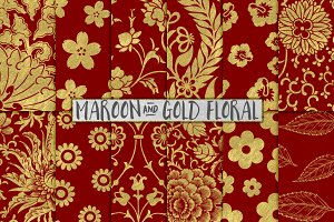 Maroon and Gold Floral Papers