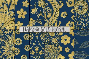Navy and Gold Floral Backgrounds