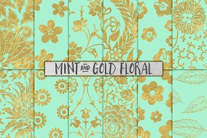 Mint and Gold Floral Backgrounds