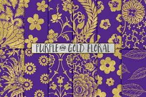 Royal Purple and Gold Floral Papers