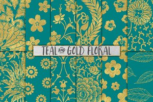 Teal and Gold Flower Backgrounds