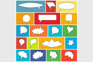 Trendy speech bubbles set