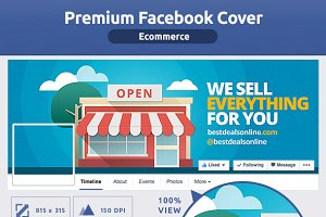 50% OFF- FLAT Ecommerce FB Cover