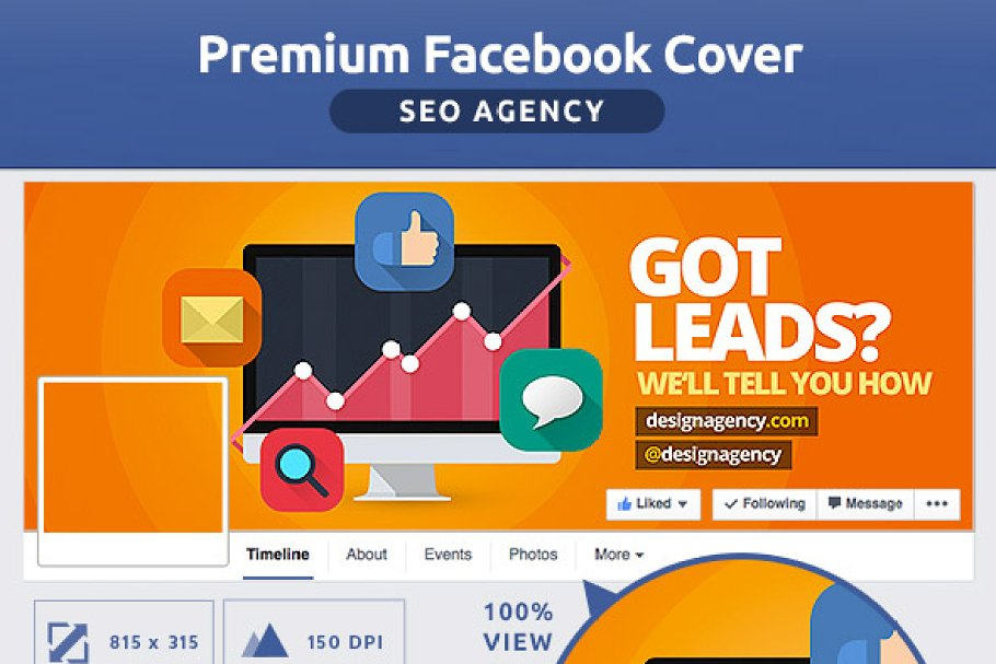 50% OFF- FLAT SEO Agency FB Cover ~ Facebook Templates