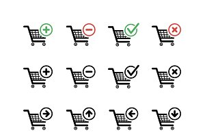 Set of black shopping carts icons
