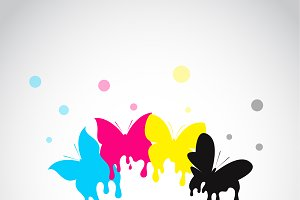 Butterfly colored cmyk print