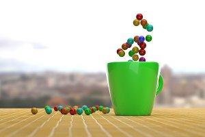 3d rendering of balls on a mug