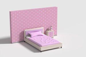 3d rendering pink bed