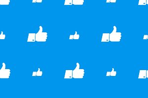 Thumbs up white icons on blue