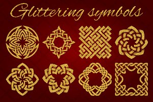 Golden glittering symbols pack