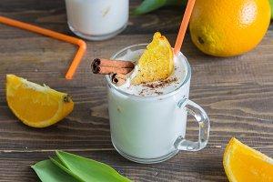Milkshake with oranges and cinnamon