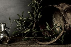 Olive oil and old copper pot