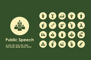 Public Speech simple icons