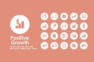Positive Growth simple icons
