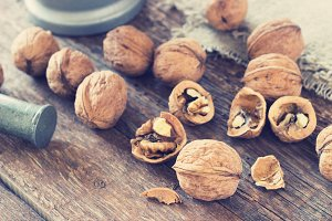 Metal Mortar and walnuts