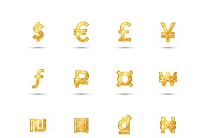 currency signs icons made of gold