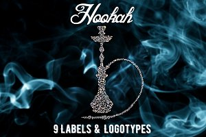 Hookah labels and Logos set