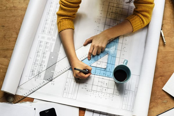 Drawing on architectural plan
