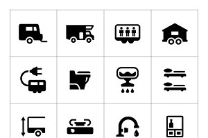 Set icons of camper