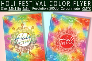 Holi Festival Color Flyer Template