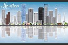 Houston Skyline with Gray Buildings
