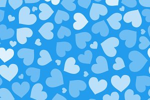Hearts on blue, seamless pattern