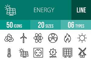 50 Energy Line Icons