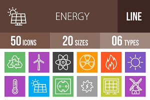 50 Energy Line Multicolor Icons