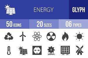 50 Energy Glyph Icons
