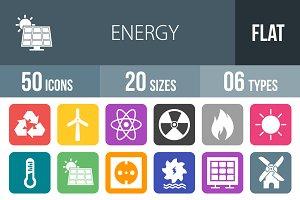 50 Energy Flat Round Corner Icons