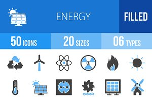 50 Energy Blue & Black Icons