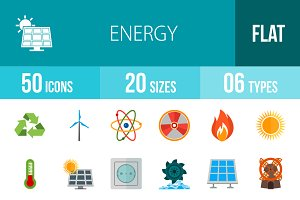 50 Energy Flat Multicolor Icons