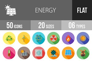 50 Energy Flat Shadowed Icons