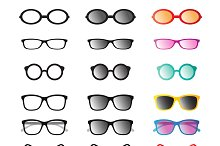 Glasses and sunglasses. Vector