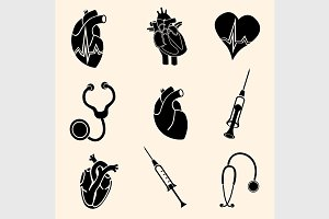 Heart doctor vector icon