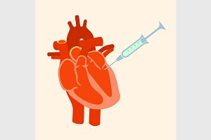 The human heart with a syringe