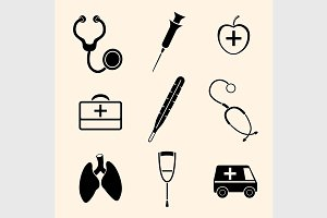 Vector isolated medical icons