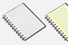 Set of spiral notebook.