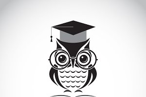 owl glasses with college hat