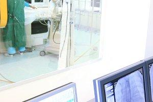 Heart operation in modern hospital