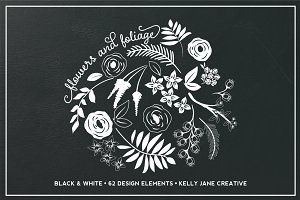 Black & White Flowers & Foliage