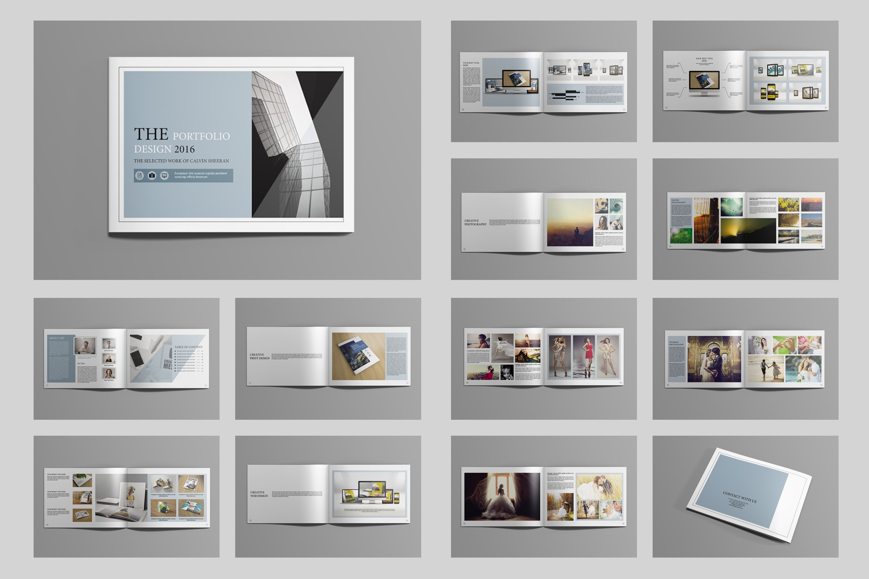 indesign portfolio brochure v419 brochure templates creative market. Black Bedroom Furniture Sets. Home Design Ideas