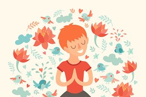 Boy in the lotus position, yoga