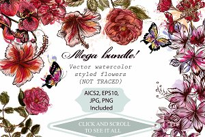 Mega flowers vector pack