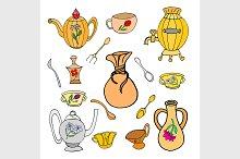 Backing flat doodle set icons